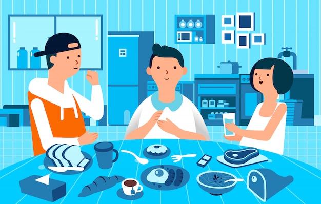 Charakter mit drei leuten mann und frauen frühstücken zusammen, lebensmittel auf dem tisch und einfarbige küche als hintergrundillustration Premium Vektoren