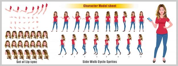 Charakter-modellblatt des jungen mädchens mit wegzyklusanimationen und lippensynchronisierung Premium Vektoren