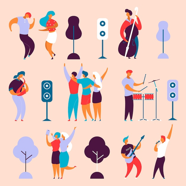 Charakter-musikband der modernen karikatur flachen Premium Vektoren
