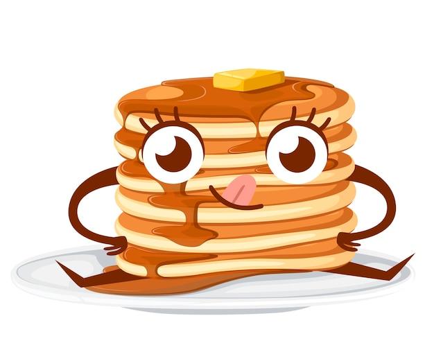 Charakter. stapel pfannkuchen mit ahornsirup und stück butter. illustration auf weißem hintergrund. pfannkuchen auf weißem teller, maskottchen. Premium Vektoren