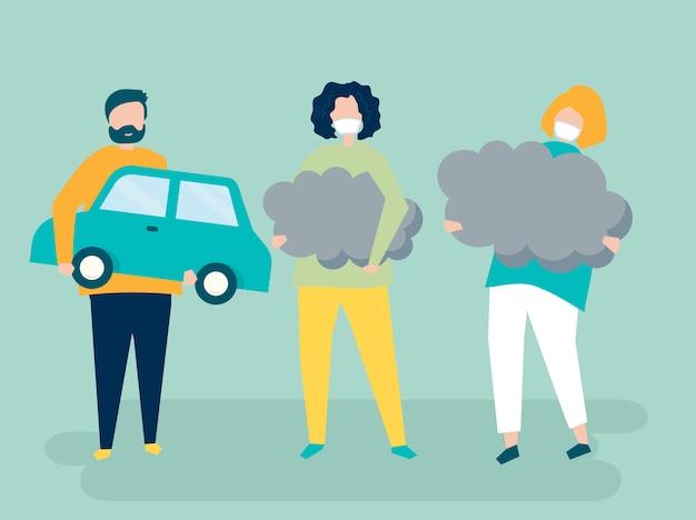 Charakter von leuten, die luftverschmutzungssymbole halten Premium Vektoren
