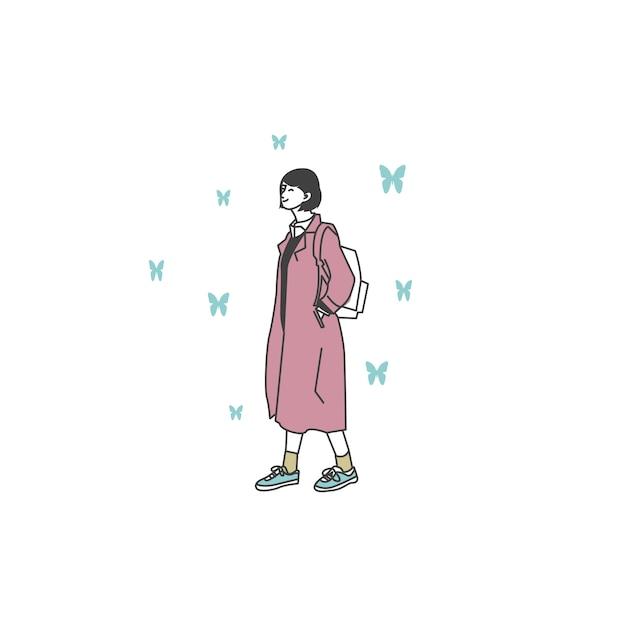 Charakter von mädchen mit freizeitkleidung Premium Vektoren