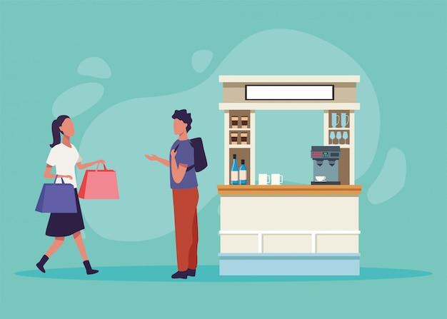 Charaktere der einkaufsaktivität des jungen paares Premium Vektoren