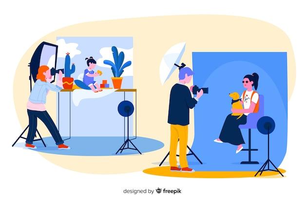 Charaktere, die für die dargestellte kamera aufwerfen Kostenlosen Vektoren