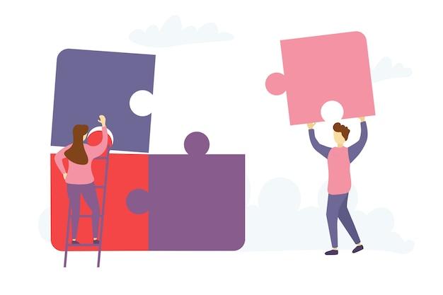 Charaktere, die puzzle-elemente verbinden Premium Vektoren