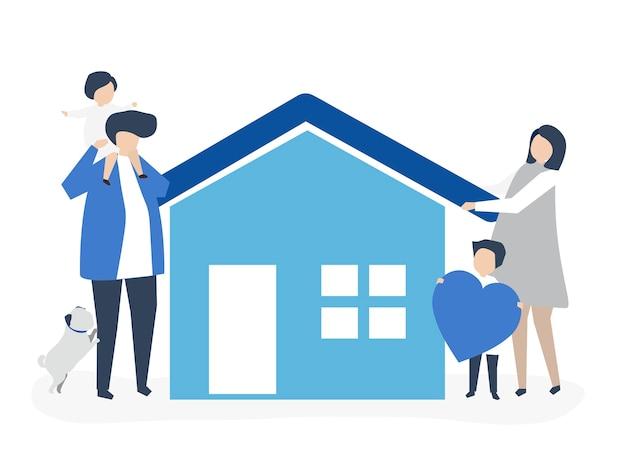 Charaktere einer liebevollen familie und ihrer hausillustration Kostenlosen Vektoren