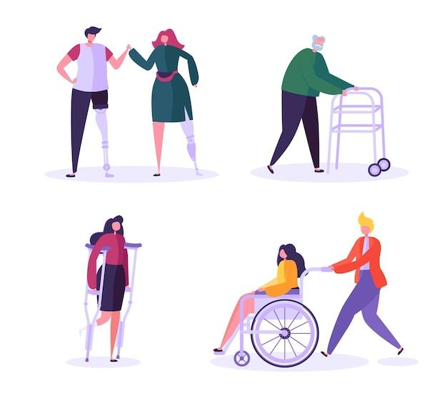 Charaktere für behinderte. frau im rollstuhl mit vorsichtigem mann. patienten mit behinderungen, mädchen auf prothesen. erholung und rehabilitation. Premium Vektoren