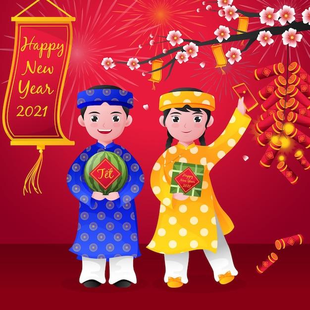 Charaktere und glücksgeld frohes vietnamesisches neujahr 2021 Kostenlosen Vektoren