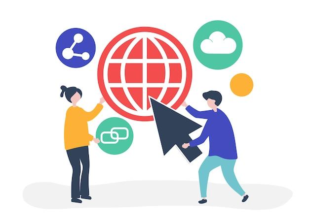 Charaktere und konzeptillustration der globalen kommunikation Kostenlosen Vektoren