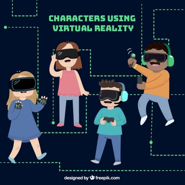 Charaktere usign Virtual-Reality-Brille Kostenlose Vektoren