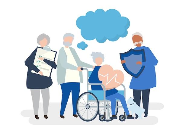 Charaktere von den älteren leuten, die gesundheitswesenikonen halten Kostenlosen Vektoren