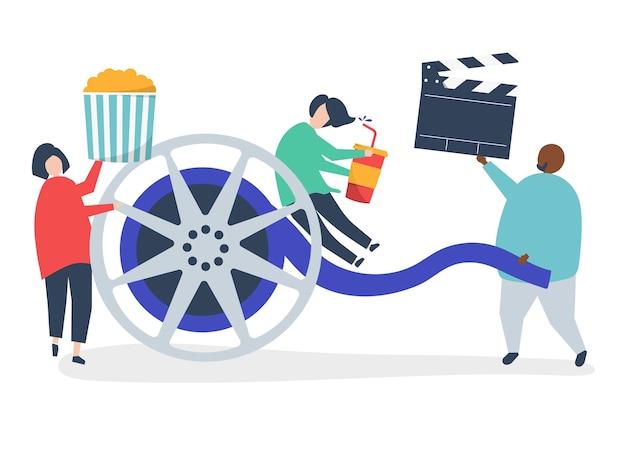 Charaktere von den leuten, die filmikonenillustration halten Kostenlosen Vektoren