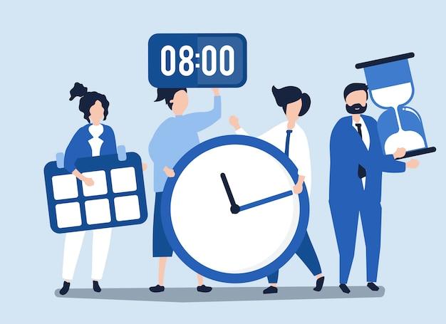 Charaktere von den Leuten, die Zeitmanagementkonzept halten Kostenlose Vektoren