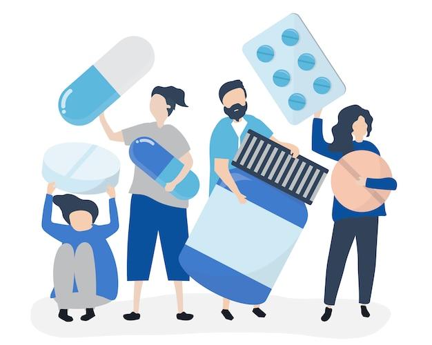 Charaktere von leuten, die pharmazeutische ikonen halten Kostenlosen Vektoren