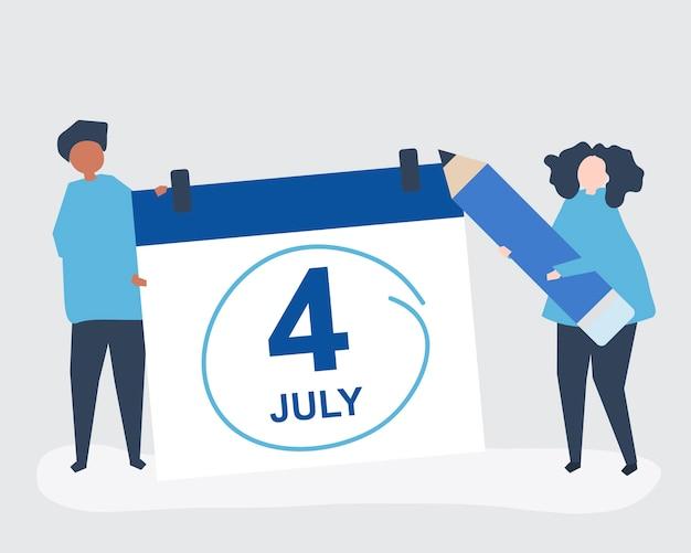 Charaktere von leuten und von viertel von juli-konzeptillustration Kostenlosen Vektoren