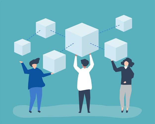 Charaktere von personen, die ein blockchain-netzwerk besitzen Kostenlosen Vektoren