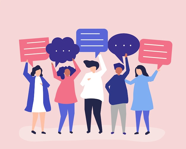 Charakterillustration von den leuten, die spracheblasen halten Kostenlosen Vektoren