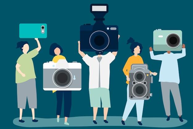 Charakterillustration von fotografen mit kameras Kostenlosen Vektoren