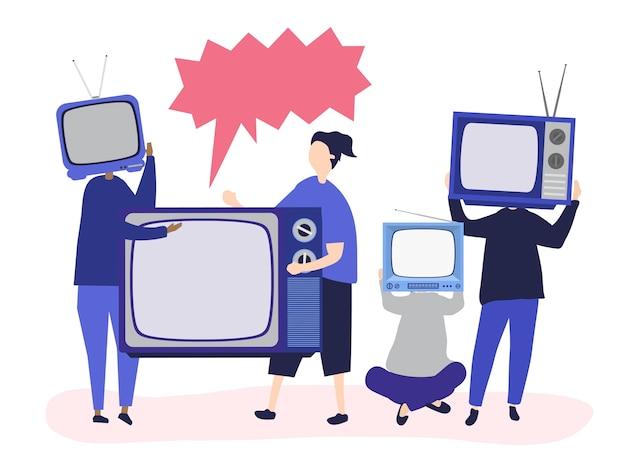 Charakterillustration von leuten mit analogen fernsehikonen Kostenlosen Vektoren