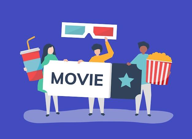 Charakterillustration von leuten mit filmikone Kostenlosen Vektoren
