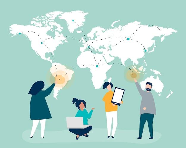 Charakterillustration von leuten mit konzept des globalen netzwerks Kostenlosen Vektoren