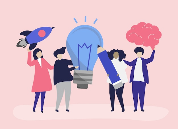 Charakterillustration von leuten mit kreativen ideenikonen Kostenlosen Vektoren