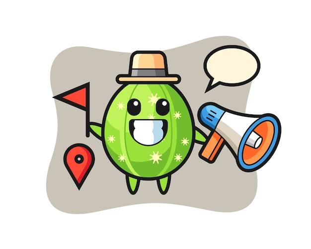 Charakterkarikatur des kaktus als reiseleiter Premium Vektoren
