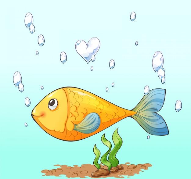 Charakterkarikaturdesign der fische, der luftblase und der meerespflanze Premium Vektoren