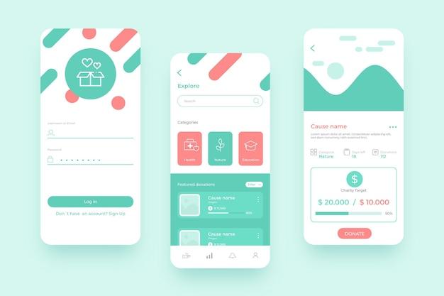 Charity app handy-oberfläche Kostenlosen Vektoren
