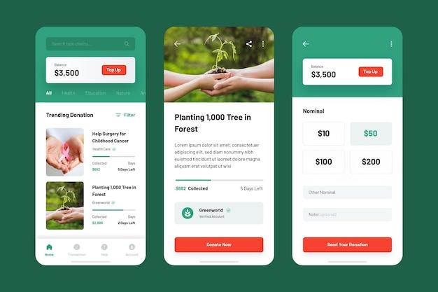 Charity app sammlung vorlage Premium Vektoren