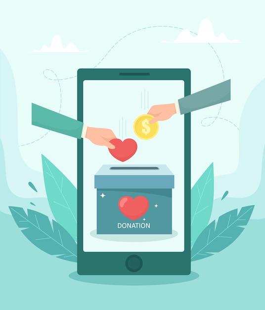 Charity fundraising-anwendungskonzept. mobile app app-schnittstelle mit herz- und münzsymbol. illustration im flachen stil. Premium Vektoren
