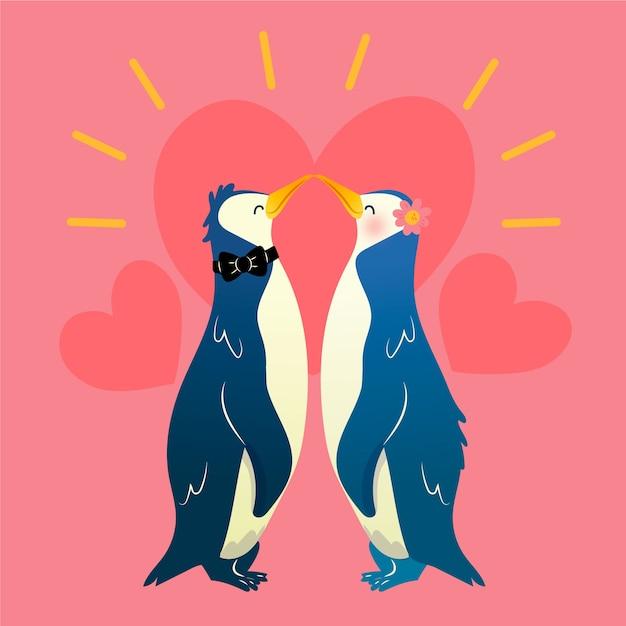 Charming valentinstag tierpaare Kostenlosen Vektoren