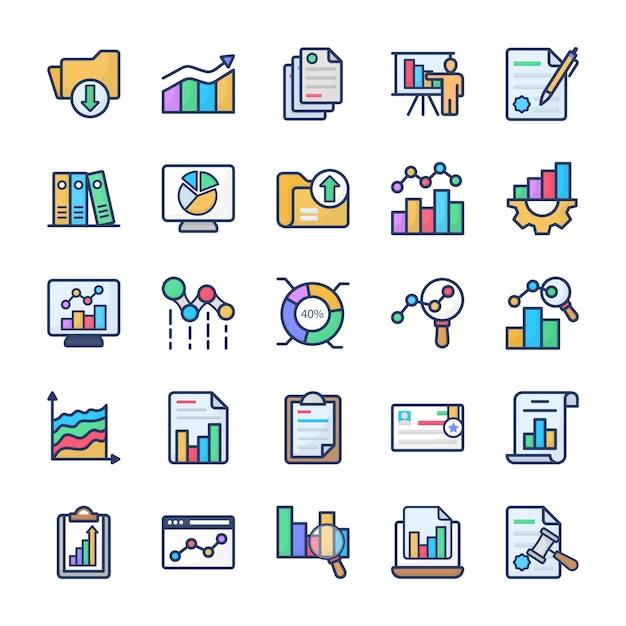 Chart analysis flat icons pack Premium Vektoren