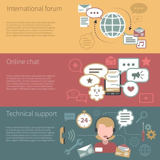 Chat banner horizontal Kostenlosen Vektoren