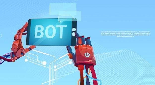 Chat bot hände mit handy, virtuelle roboterunterstützung von websites oder mobilen anwendungen, a Premium Vektoren