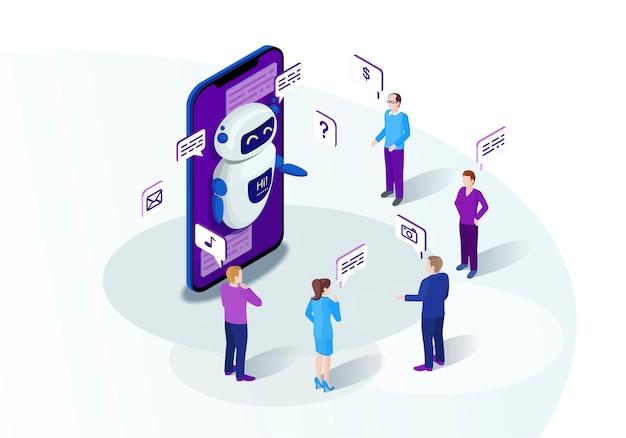 Chat bot isometrisch Premium Vektoren