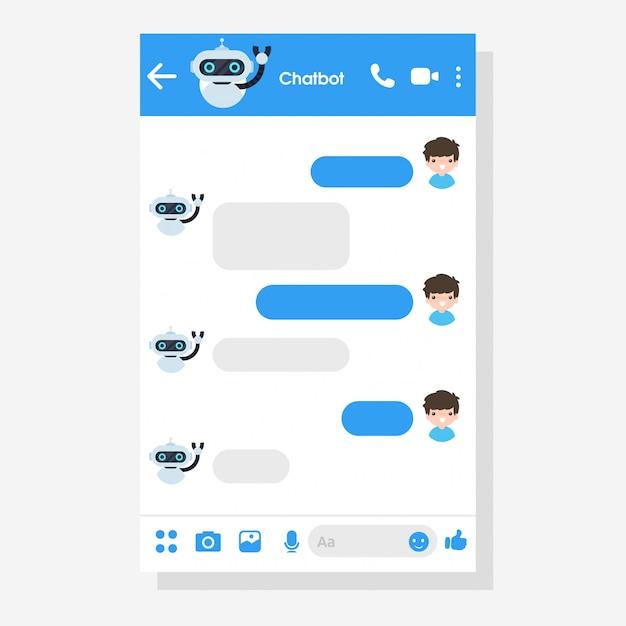 Chat-bot sagen hallo. roboter, die so programmiert sind, dass sie online mit kunden sprechen. Premium Vektoren