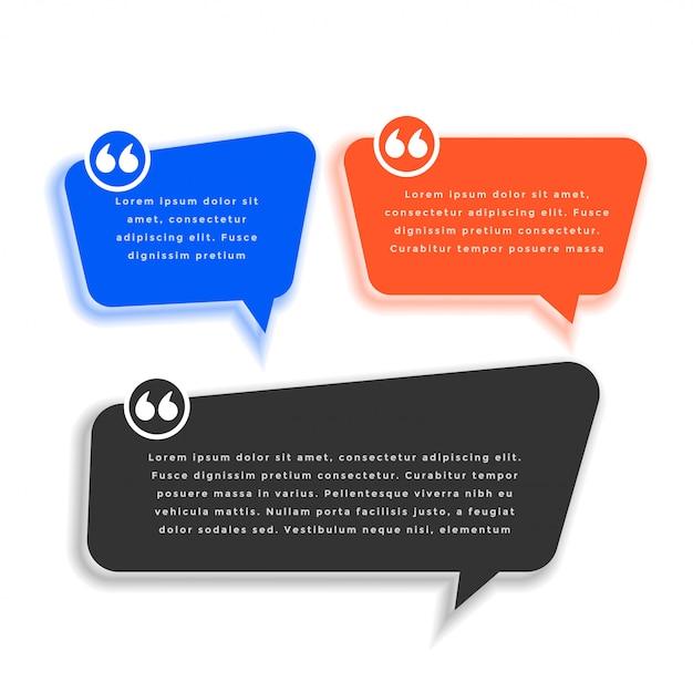 Chat bubble style zitat vorlage design-set Kostenlosen Vektoren