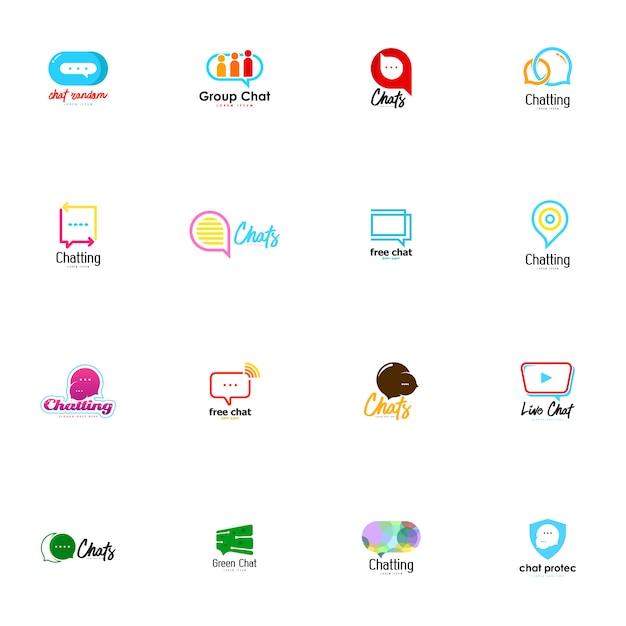 Chat-logo gesetzt Premium Vektoren