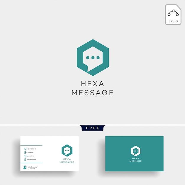 Chat, nachricht, rede, konversationslogoschablone mit visitenkarte Premium Vektoren