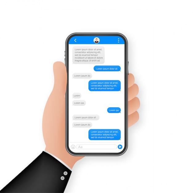 Chat-schnittstellenanwendung mit dialogfenster. clean mobile ui-konzept. sms messenger. illustration. Premium Vektoren
