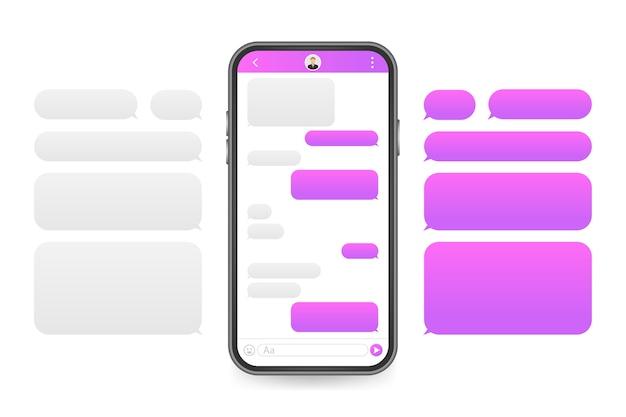 Chat-schnittstellenanwendung mit dialogfenster. sauberes designkonzept für die mobile benutzeroberfläche. sms messenger Premium Vektoren