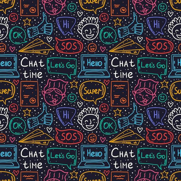 Chat-zeit-cartoon, gekritzel, nahtloses muster, hintergrund, hintergrund, textur. sprechblase, nachricht, emoji, brief, gerät, papierflugzeug. netter bunter neonentwurf. Premium Vektoren