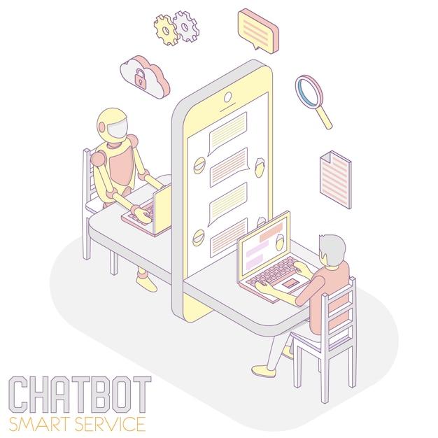 Chatbot app isometrisch Premium Vektoren
