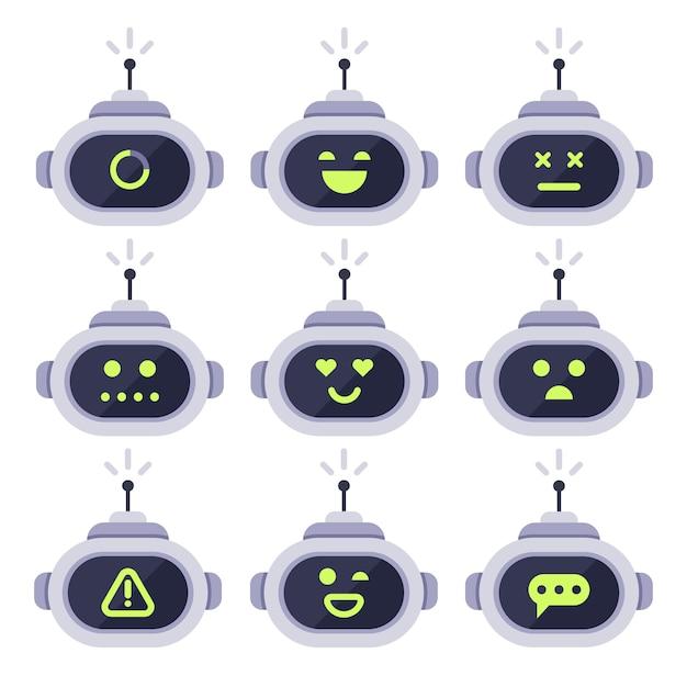 Chatbot-avatar. computer android roboter mit mimik-icon-set Premium Vektoren