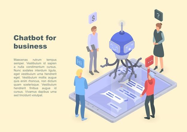 Chatbot für geschäftskonzeptfahne, isometrische art Premium Vektoren