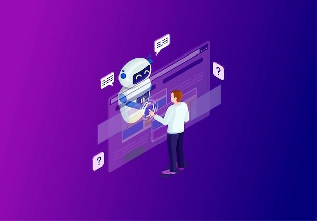 Chatbot isometrische farbabbildung Premium Vektoren
