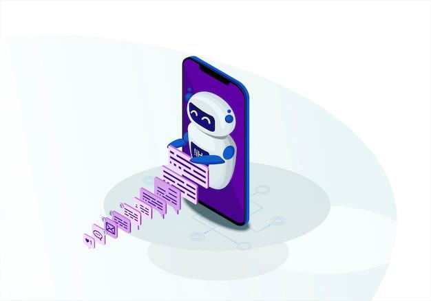 Chatbot isometrische vektor-illustration Premium Vektoren