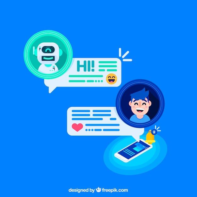 Chatbot konzept hintergrund mit mobilen gerät Kostenlosen Vektoren