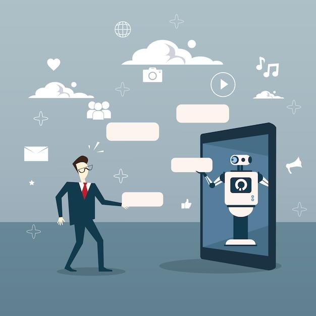 Chatbot-konzept-mann-kommunikation mit chat-bot von digital-tablet Premium Vektoren